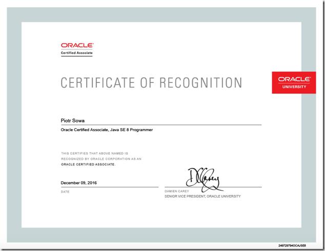 OracleCertificateJava8ProgrammerI